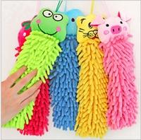 50pcs/lot Wholesale Microfiber cartoon Hanging towel Cute animal cleaning towel