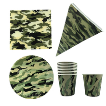 10pcs/lot Camouflage Theme Disposable Tableware Set  Plates Cups Napkins Tablecloth Kids Birthday Party Decor Supplie
