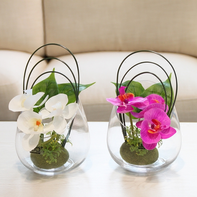 Aliexpress Buy 3 Color Options Butterfly Orchid Glass Vase Pu