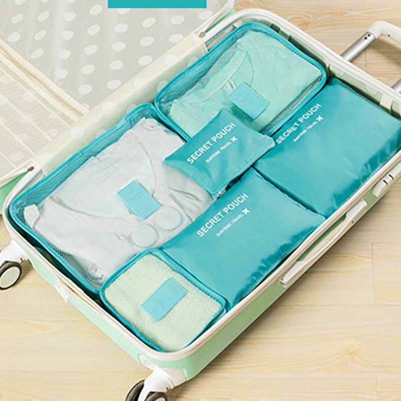6pcs यात्रा भंडारण बैग सेट पनरोक कपड़े साफ अंडरवीयर मेकअप आयोजक पाउच सूटकेस घर कोठरी विभक्त कंटेनर