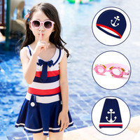New One Piece Children Swimwear Kids Swim Suit Dress Girls Swimsuit With Skirt Cover Up Graffiti