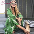 Shieny Chiffon Cardigan Floral Print Beach Cover Up 2018 Long Swim Suit Cover Up Plus Size Tie-Waist Bathing Suit Cover Ups