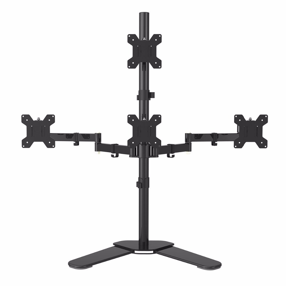 "4 LCD Screens Up to 27/"" Heavy Duty Quad Monitor Stand Free Standing Desk Mount"