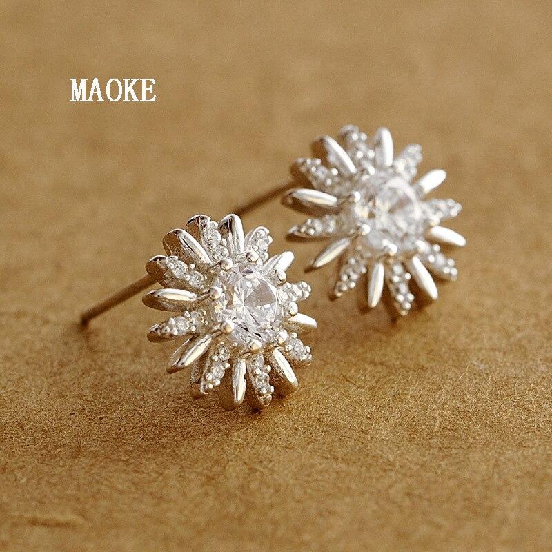 Promotions à la mode dames flocon de neige incrusté Zircon 925 argent clous d'oreilles Simple argent bijoux de mode pour les cadeaux des femmes