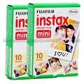 Genuino 2 packs fuji fujifilm instax mini película 8 borde blanco 20 hojas para 8 7 7 s 50 s 90 25 dw 50i Compartir SP-1 Cámaras Instantáneas