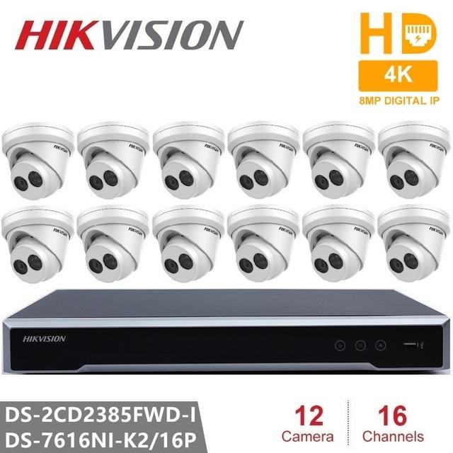Система видеонаблюдения Hikvision система видеонаблюдения встроенный разъем и воспроизведение NVR 4 K 2 SATA 16CH 16POE и DS-2CD2385FWD-I H.265 8MP ip-камера POE