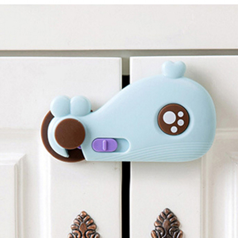 Child Kids Door Drawers Wardrobe Protect Cute Baby Drawer Lock Todder Cabinet Safety Care Plastic Lock White Blue Cover