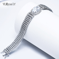 23cm length Big full crystal Bracelets for bridal wedding party jewelry white luxury jewellery silver plate Bracelet bangle