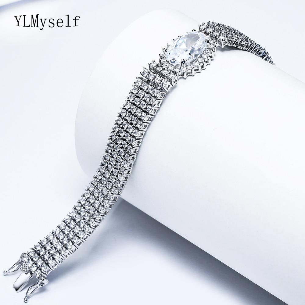 23cm length Big full crystal Bracelets for bridal wedding party jewelry white luxury jewellery silver plate Bracelet bangle