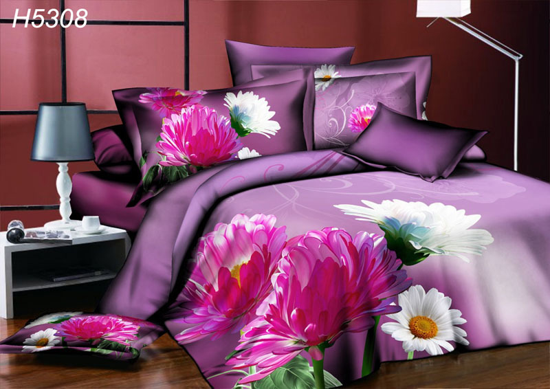 High Definition Digital 4pcs 3d Bedding Set White Pink