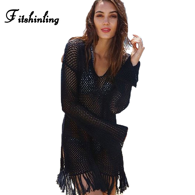 Fitshinling 2017 long sleeve knitted beach dress female fringe slim sexy slim black dresses for women