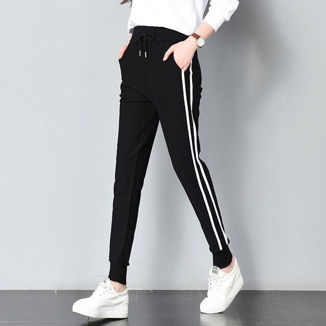 Longue Pantalons De Loisirs Femmes Bas Printemps été Femmes Vêtements À  Double Rayure Jogging Sarouel Survêtement e932edaa49f9