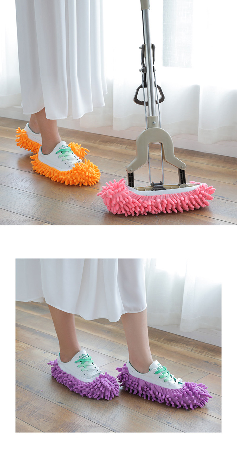 1Pcs Shoes Covers Mop Slipper Lazy House Floor Polishing Cleaning Easy Foot Sock Shoe Cover Mopping Lazy Shoe Cover Blue Purple (4)
