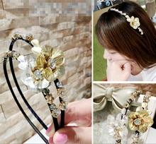 New Vintage Korea Hair accessories for Women Rhinestone Metal Flowers Hairbands