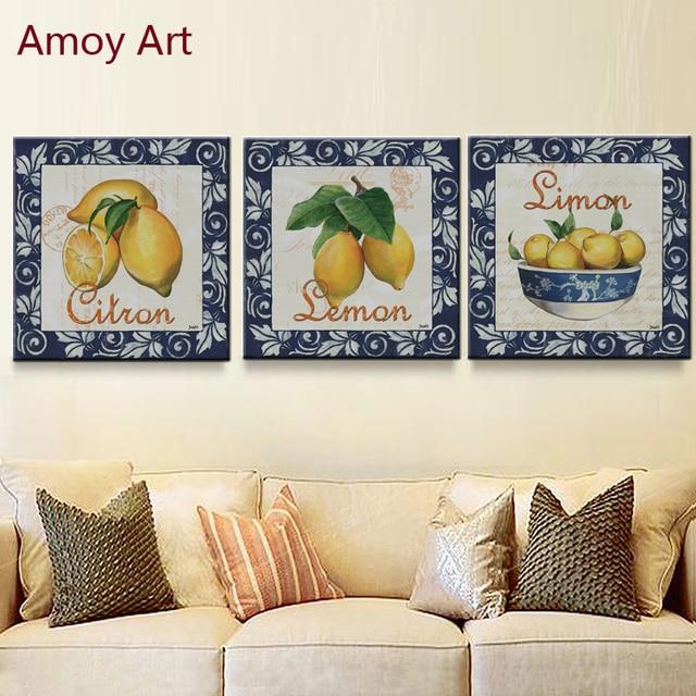3 Panel Vintage Simon Lemon Home Decor Wall Art Kitchen Picture ...