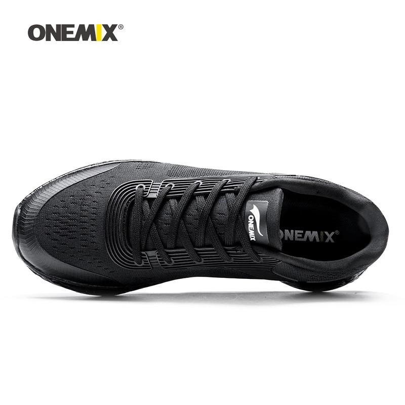 Onemix hommes chaussures de course pour femmes noir maille coussin d'air respirant Designer Jogging baskets Sport de plein Air marche formateurs - 2