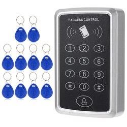 Casa de Segurança 125KHz Cartão de Proximidade RFID Entrada Da Porta Bloqueio do Sistema de Controle de Acesso Único Com 10pcs Chaves RFID Chave fob