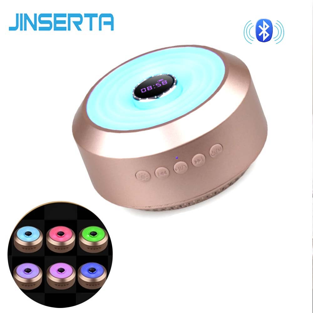 JINSERTA Bluetooth Speaker mini Wireless Speakers Stereo sound with Clock Display Colorful Light Support TF Card Aux Input