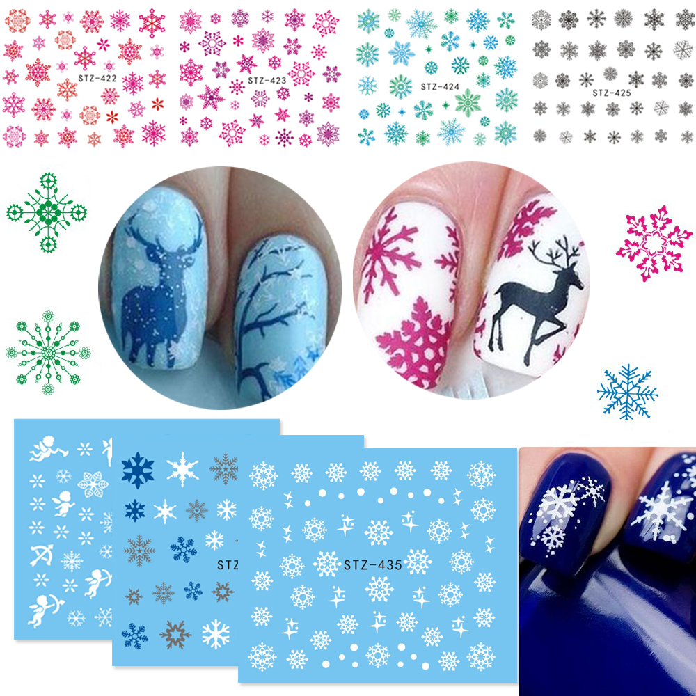 Xmas Nail Transfers: 1 Sheets 2017 Xmas Sticker For Nail Decals Snow Flower