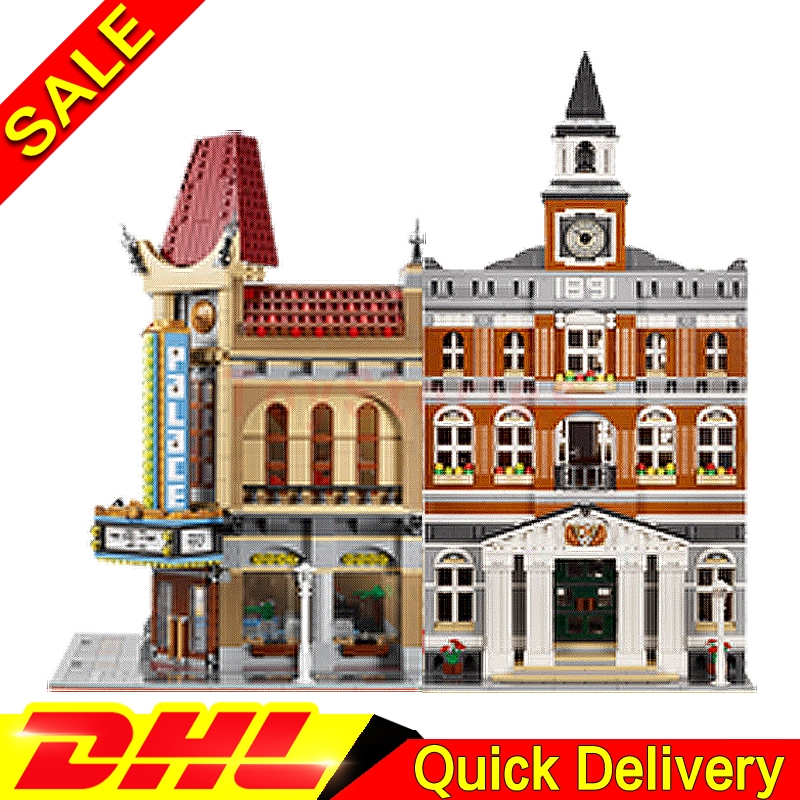 Lepin 15003 town hall + Lepin 15006 Palace Cinema City Street Model Building Blocks Bricks Kits legoings Toys Clone 10224 10232 lepin 15003 town hall lepin 15009 pet shop supermarket city street model building blocks bricks lgoings toys clone 10224 10218