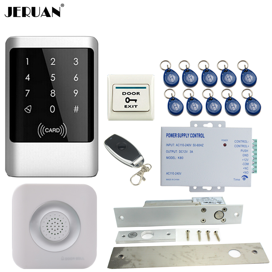 JERUAN Metal RFID Password Access Controller Touch key Waterproof Door control system kit + Doorbell +Electric Bolt Lock jeruan metal waterproof rfid password touch access controller system kit speaker doorbell remote control in stock free shipping