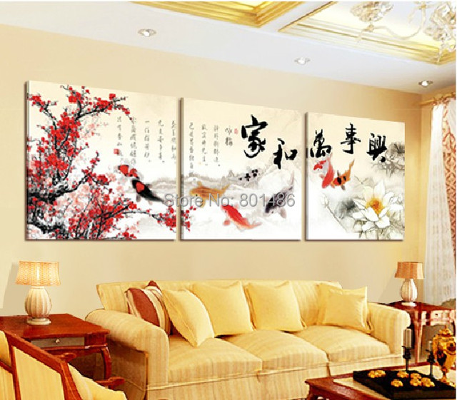 3 Piece Hot Sell Modern Wall Painting Pink Plum Blossom and Chinese ...