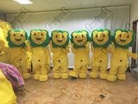 plush green hair lion mascot costumes cartoon yellow lion walking actor