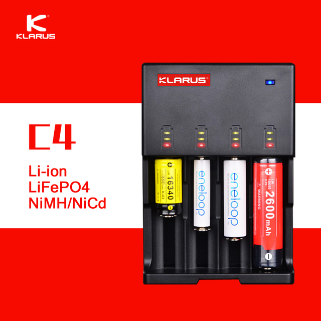 Klarus Original C4 Inteligente Carregador de Bateria DC 12 V AC 110-240 V 4 slot carregador de bateria inteligente para c aa aaa 18650 26650 14500