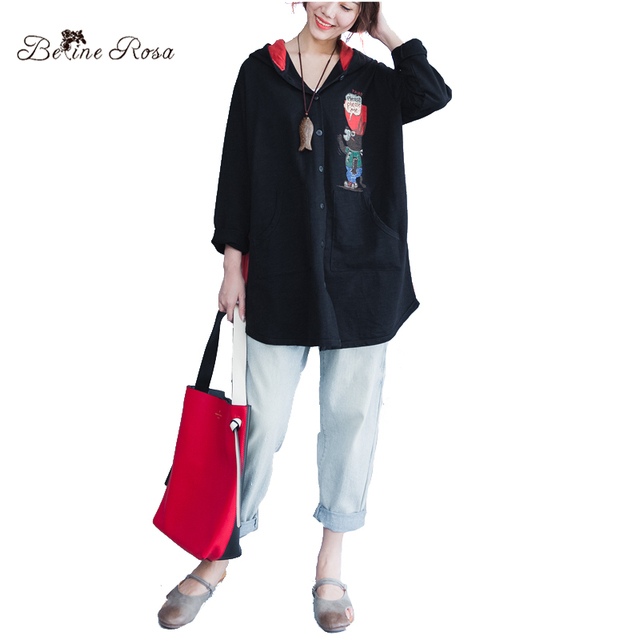 BelineRosa Plus Size Women Clothing 3XL 4XL Large Size Blouse Shirt Hooded Collar Kawaii Fashion Shirt Blouse  ZRK00017