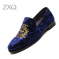 Fashion Party Wedding Shoes Handmade Men Loafers Embroidered Velvet Shoes Men Dress Shoe Men's Fats