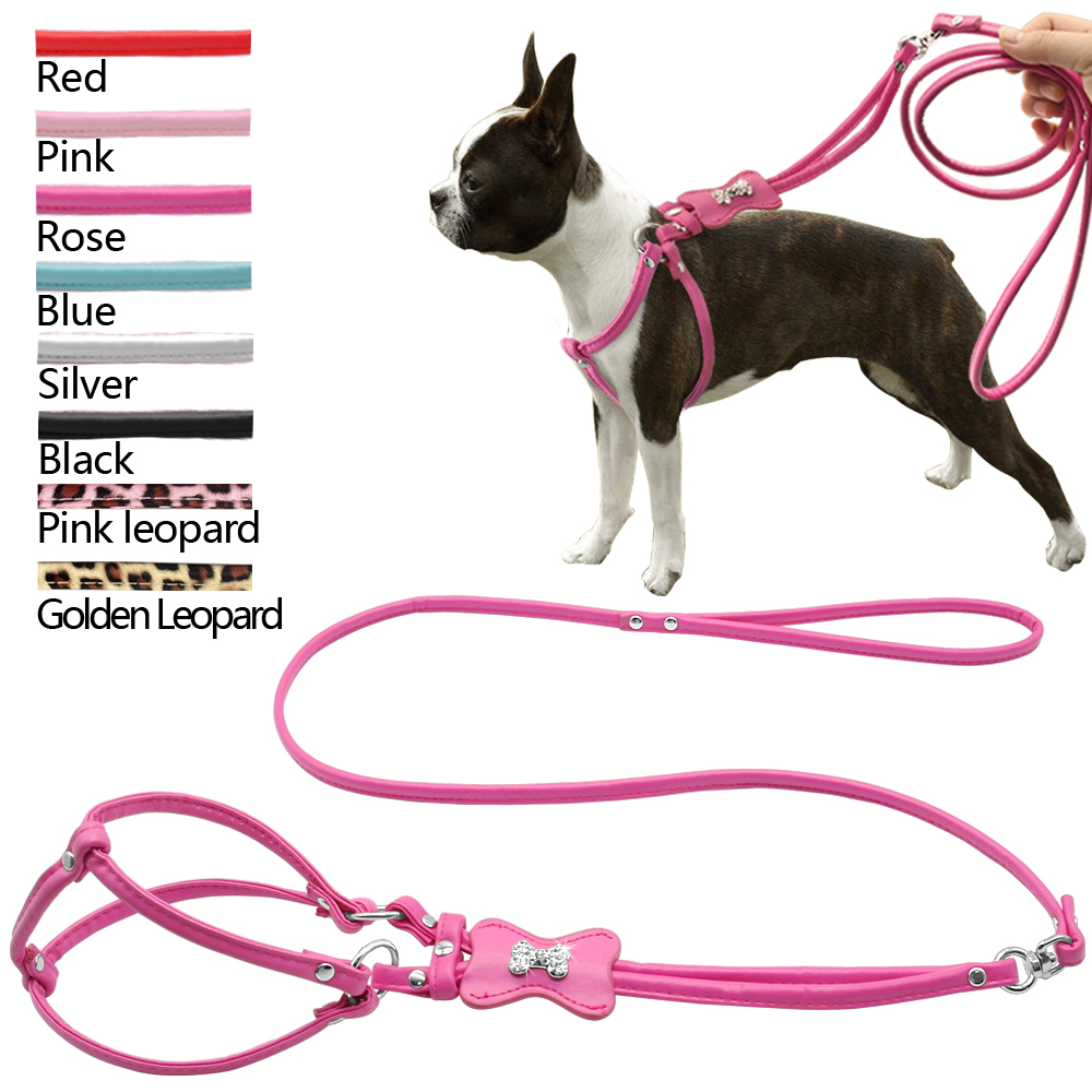 7 Colors New Leather Diamante Luxury Bling Bone/Paw Pet accessiores Pet Dog Harness&Lead