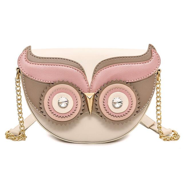 Sweet Lady Mini Phone Bag 2018 New High-quality PU Leather Women bag Cartoon Printed Owl Chain Shoulder Bag Small Crossbody bag