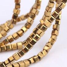 Olingart quadrado 3/4/6/8mm áustria grânulos de cristal charme grânulos de vidro chapeamento ouro cor solta espaçador grânulo para diy jóias fazendo