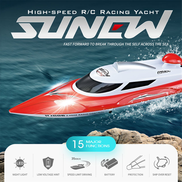 Us 61 65 35 Off Aliexpress Com Buy Led Lights Remote Control Boat Toy For Kids Children High Speed Racing Rc Boat 4ch 2 4ghz Control Distance