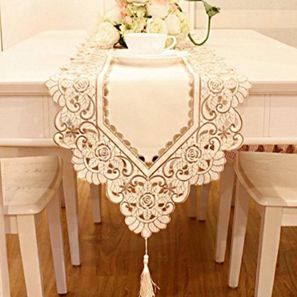 1 pieza unids 40x150 cm impermeable calado bordado Pastoral mesa de comedor mantel Pastoral de café textil
