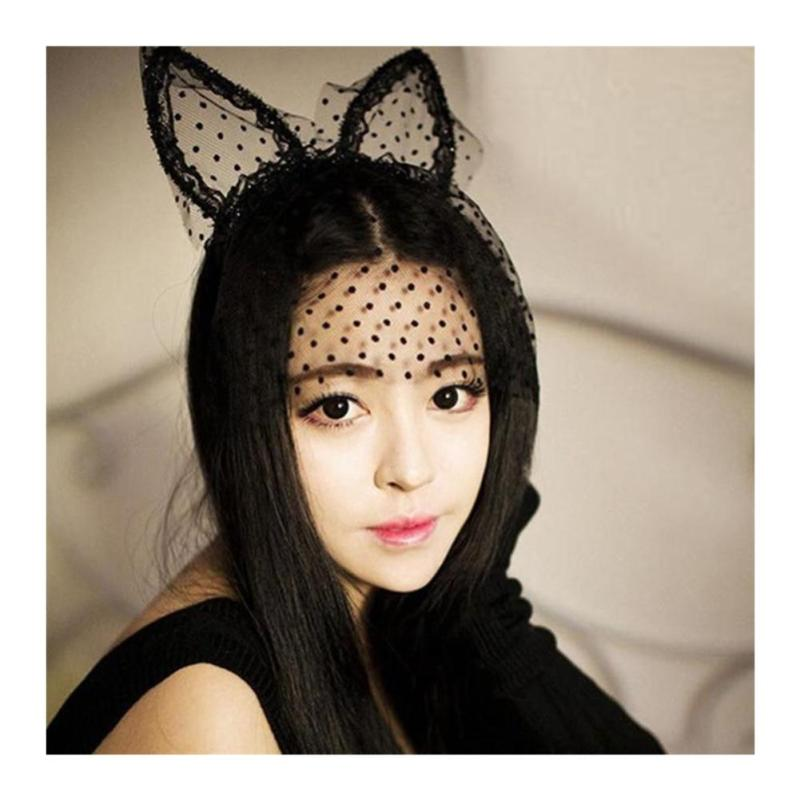 cd71825a6bd Soft Fashion Girl mask Hair Bands Lace Rabbit Bunny Ears Veil Black Eye  Party Mask Headwear