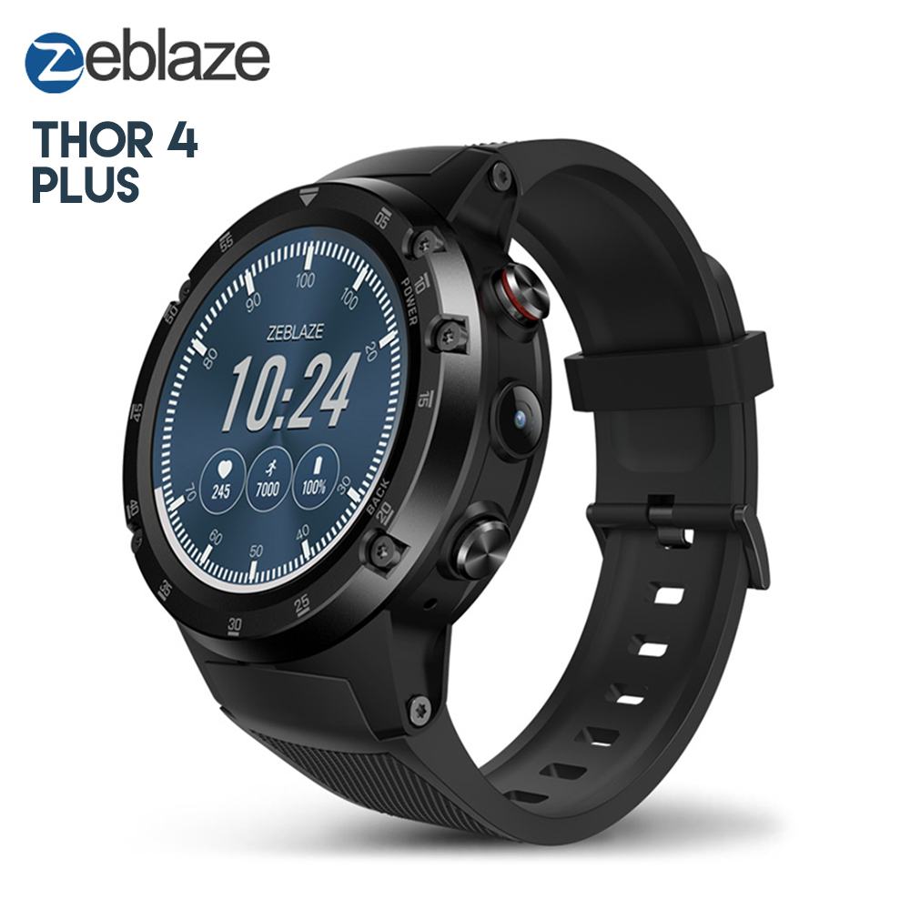 Original Zeblaze THOR 4 Plus Smart Watch Phone Android 7.1 4G LTE Heart Rate Monitor GPS Smartwatch Message Reminder zeblaze zeband plus smart bracelet blue