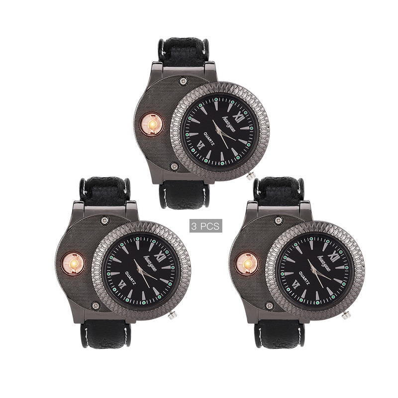 3Pcs Group Sales Black White Watch Electronic Rechargeable USB Windproof and Flawless Cigarette Lighter watches montre homme 213Pcs Group Sales Black White Watch Electronic Rechargeable USB Windproof and Flawless Cigarette Lighter watches montre homme 21