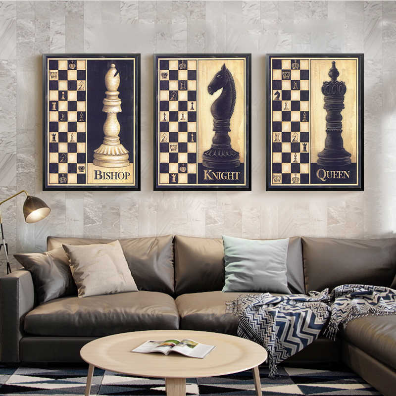 Chess Canvas Painting Wall Art Picture for Living Room Poster Decoration Picture No Frame Retro and Nostalgic Print Wall Art