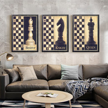 Chess Canvas Painting Wall Art Picture for Living Room Poster Decoration Picture No Frame Retro and Nostalgic Print Wall Art(China)