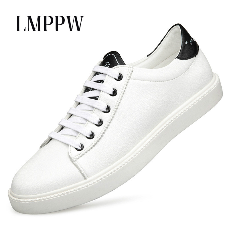 fa4ee0a7cb6 New Men's Board Shoes Red Black White Men's Casual Lace-up Sneakers Luxury  Brand Soft Genuine Leather Men's Shoes Breathable 2A