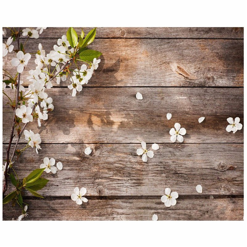 5x3FT Wood Wall Flower Vinyl Photography Background For Studio Photo Props Photographic Backdrops cloth 150x 90cm waterproof vinyl floral flower newborn backdrops cartoon unicorn photography background studio photo props 5x3ft