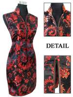 Black Red Chinese Women S Silk Cheongsam Sexy Mini Qipao Evening Party Gown Dress Totem Flower