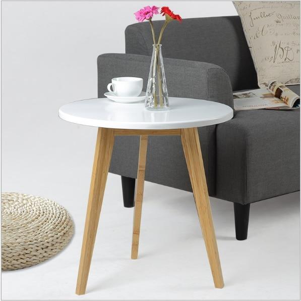 Modern Design Bamboo Round Side Table Minimalist Tea Table Coffee Table  Living Room Sofa Craft Table