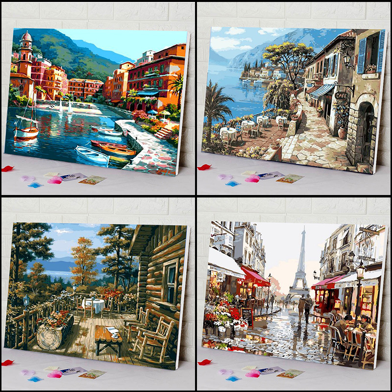 On Canvas Painting Numbers-Diy-Picture Hand-Wall Drawing-Coloring Oil Landscape By