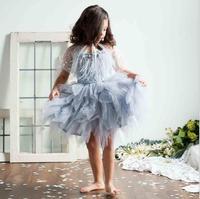 Luxury baby girls feather black tutu dress children girls beading swan prom dress summer fashion kids costume