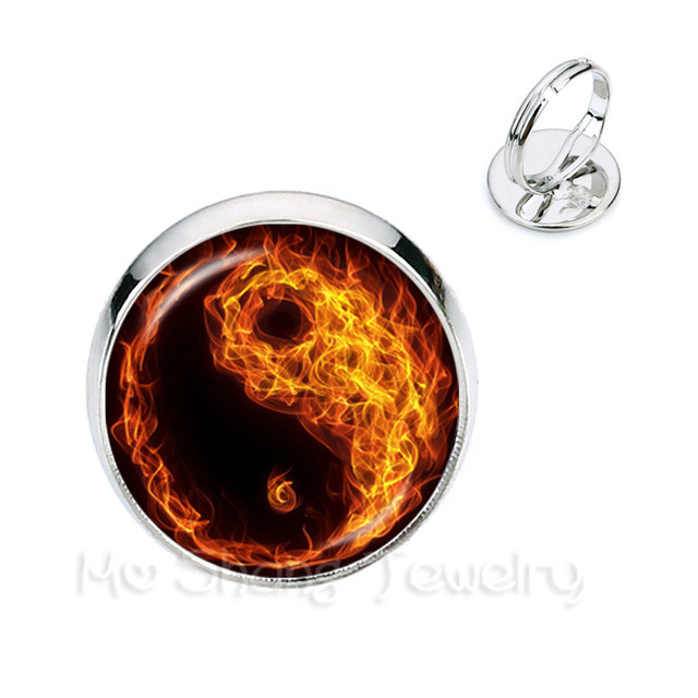 Fire And Water Symbol Jewelry Yin Yang Glass Dome Rings Taoism