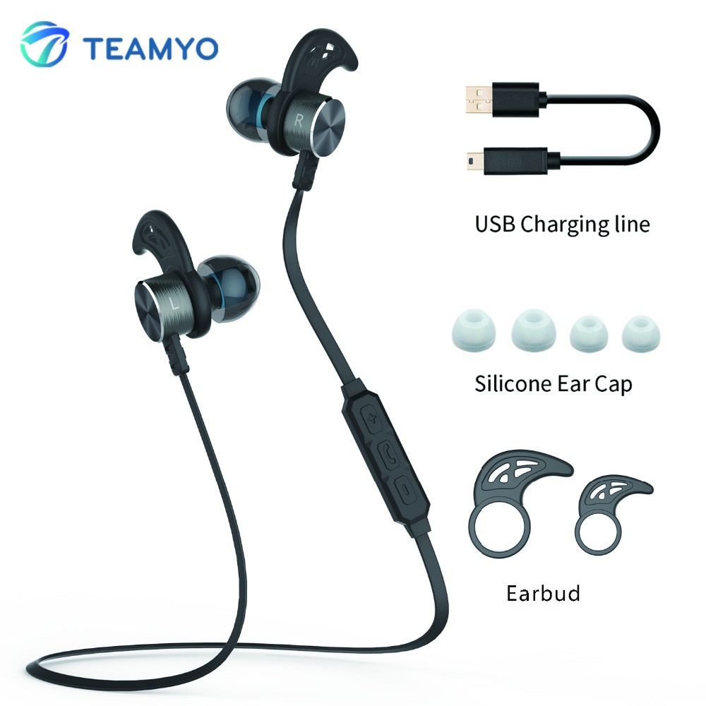 Teamyo Metal Magnet In-Ear Earphone Sports Bluetooth V4.0 Earphones Stereo Headset With Built-in Mic for iPhone Samsung Android