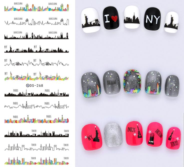 DS268 Design Water Transfer Nails Art Sticker Harajuku Tokyo Hot Wave Nail Wraps Sticker Watermark Fingernails Decals ds300 2016 new water transfer stickers for nails beauty harajuku blue totem decoration nail wraps sticker fingernails decals