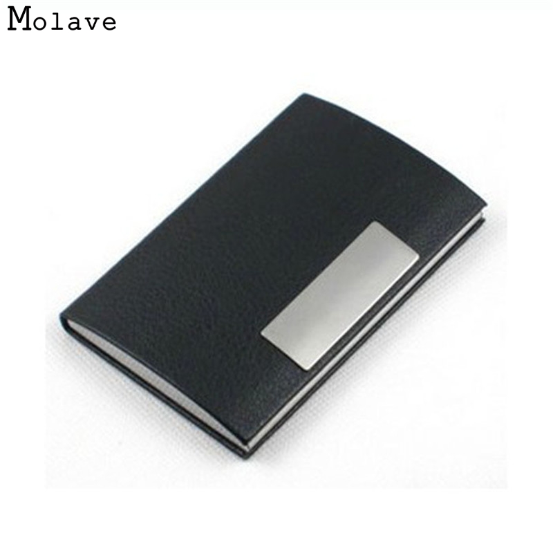Naivety Card Holder Black PU Leather Metal Business ID Credit Cards Case Portable AUG15 drop shipping stylish alligator pattern portable pu leather aluminum alloy magnet business card case brown